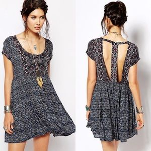 Free People Sundown Babydoll Pattern T-Back Dress